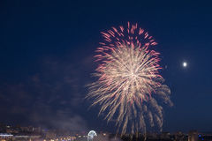 Festive fireworks, salute above night city Royalty Free Stock Images