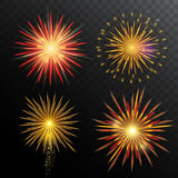 Festive Fireworks Set. Of different shapes with sparkling and light effects on dark background isolated vector illustration Royalty Free Stock Image