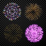 Festive fireworks set. Festive fireworks set isolated on black background. Vector illustration Stock Photo