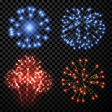 Festive fireworks set. Festive fireworks set isolated on black background. Vector illustration Royalty Free Stock Image