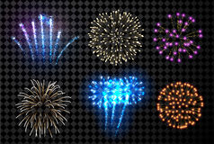 Festive fireworks set. Festive fireworks set isolated on black background. Vector illustration Stock Image