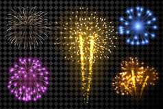 Festive fireworks set. Festive fireworks set isolated on black background. Vector illustration Royalty Free Stock Images