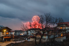 Festive fireworks in the small city Royalty Free Stock Photos