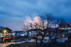 Festive fireworks in the small city Stock Photography