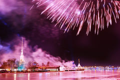 Festive fireworks in St. Petersburg, Russia Stock Photography