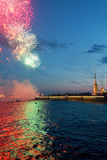Festive fireworks in St. Petersburg, Russia Stock Photo