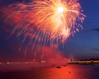 Festive fireworks in St. Petersburg, Russia Royalty Free Stock Photography