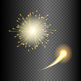 Festive fireworks in various shapes sparkling light set against black transparent background abstract vector isolated. Illustration Royalty Free Stock Image