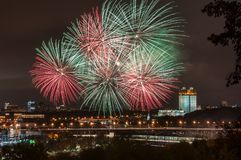 Festive fireworks on Vorobyovy Gory in Moscow stock photo