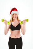 Festive fit blonde smiling at camera Royalty Free Stock Images
