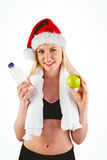 Festive fit blonde smiling at camera Stock Photo