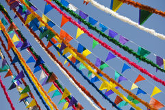 Festive flags. Rows of multicolored festive flags Stock Images