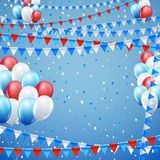 Festive flags background. Festive blue red and white colored flags and baloon baner template, blue  background. vector illustration Stock Image