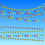 Festive flags background. Festive colored flags, blue sky background. vector illustration Royalty Free Stock Image