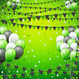Festive flags background. Festive green colored flags and template  background. vector illustration Stock Image