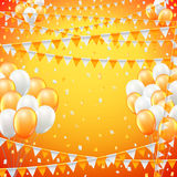 Festive flags background. Festive sunny yellow colored flags and baloon baner template, yellow  background. vector illustration Royalty Free Stock Image