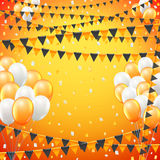 Festive flags background. Festive sunny yellow colored flags and baloon baner template, yellow  background. vector illustration Stock Photography