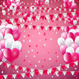 Festive flags background. Valentine pink colors flags and balloon banner template, blue  background. vector illustration Royalty Free Stock Images
