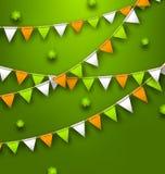 Festive Flags with Clovers for Happy Saint Patricks Day. Illustration Festive Flags with Clovers for Happy Saint Patricks Day - Vector Royalty Free Stock Photos