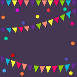 Festive flags and confetti. Carnival party. Garland of colour flags and confetti. Holiday background, greeting card template, invi. Ation Stock Photography