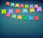 Festive flags with confetti. Garland, celebration party Royalty Free Stock Photography