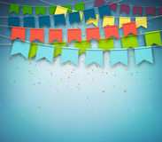 Festive flags with confetti. Garland, celebration party. Colorful festive flags with confetti on dark blue background. Festive garland, celebration party. Vector Stock Images