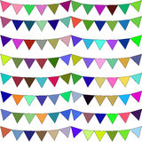 Festive flags of different colors. Raster Stock Photos