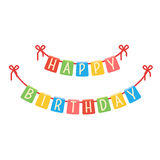 Festive flags garland for birthday party. Colorful holiday decoration. Vector element isolated on white Royalty Free Stock Image