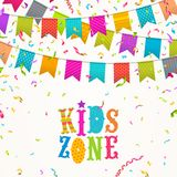 Festive flags garlands, multicolored confetti and kids zone type design logo. Colorful festive flags garlands, multicolored confetti and kids zone type design Royalty Free Stock Photography