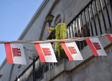 Festive flags of Gibraltar stock photography