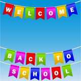 Festive flags with inscription. Welcome back to school.. Decoration of holiday carnival party. Isolated objects. sky background. Vector illustration Royalty Free Stock Image