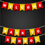 Festive flags with inscription. Welcome back to school. Decoration of holiday carnival party. Isolated objects. Vector illustratio. Festive flags with Royalty Free Stock Images
