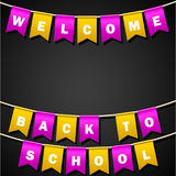 Festive flags with inscription. Welcome back to school. Decoration of holiday carnival party. Isolated objects. Vector illustratio. N Royalty Free Stock Photography