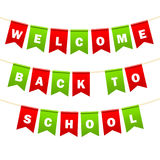 Festive flags with inscription. Welcome back to school. Decoration of holiday carnival party. Isolated objects. Vector. Illustration Stock Image