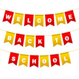 Festive flags with inscription. Welcome back to school. Decoration of holiday carnival party. Isolated objects. Vector. Illustration Stock Photography