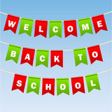 Festive flags with inscription. Welcome back to school. Decoration of holiday carnival party. Isolated objects. Vector. Festive flags with inscription. Welcome Stock Photography