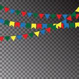 Festive flags isolated on transparent background. Carnival Garland of colour flags. Vector illustra. Tion Royalty Free Stock Images