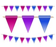Festive flags on white background. Vector illustration Royalty Free Stock Photo