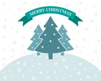 Festive flat Christmas background. Vector illustration. Festive flat Christmas background with Christmas trees and snow. Vector illustration. Holiday greeting Royalty Free Stock Photography
