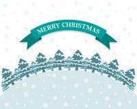 Festive flat Christmas background. Vector illustration. Festive flat Christmas background with Christmas trees and snow. Vector illustration. Holiday greeting Stock Image