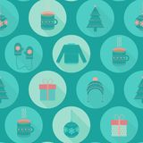 Festive flat Christmas and New year seamless pattern Royalty Free Stock Photo
