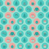 Festive flat Christmas and New year seamless pattern Stock Photo