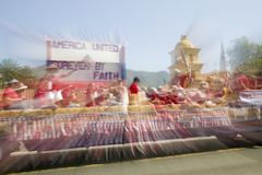 Festive float makes its way down main street during a Fourth of July parade in Ojai, CA Stock Image