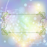 Festive floral frame. Abstract background with floral frame against unfocused bubbles pattern Royalty Free Stock Images