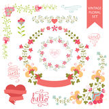 Festive floral set. Frames,flowers,ribbons,hearts. Festive design templat set  in Retro style with floral Frames,elements ,vignettes, wreaths,hearts,ribbon. For Stock Photo
