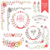 Festive floral set. Frames,flowers,ribbons,vignettes. Festive design templat set  in Retro style with floral Frames,elements ,vignettes, ribbon. For Wedding Royalty Free Stock Photography