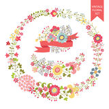 Festive floral set. Frames,flowers,wreath. Festive design templat set  in Retro style with floral Frames,elements ,wreath, ribbon. For Wedding  invitation Royalty Free Stock Photo