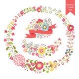 Festive floral set. Frames,flowers,wreath Royalty Free Stock Photo
