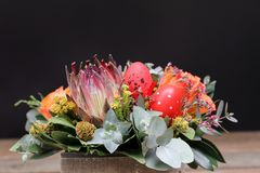 Festive flower arrangement of Protea flower, orange roses, eucalyptus leaves and other plants with red Easter eggs decorated on. The black background, beautiful stock image