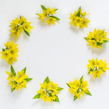 Festive flower arrangement on white background. Festive flower arrangement. Flowers loosestrife lysimachia in yellow packing on white textured background. Top Stock Photo
